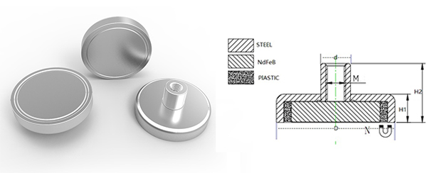 Neodymium Pot Magnet with Threaded Magnets