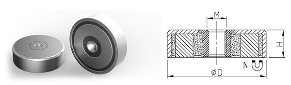 Neodymium Pot Magnet with Thread Hole