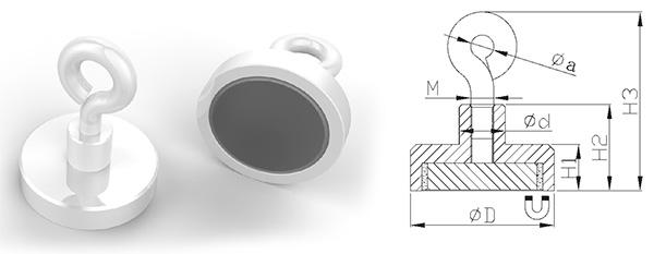 Neodymium Pot Magnets with Eyelet, White Powder Painted