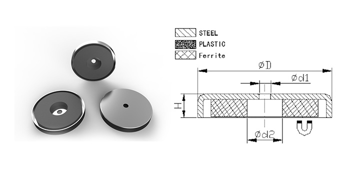 Ferrite Round Base Magnet with Borehole
