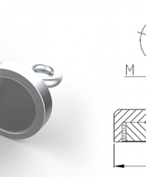 Neodymium Pot Magnets with Eyelet, Nickle Plated