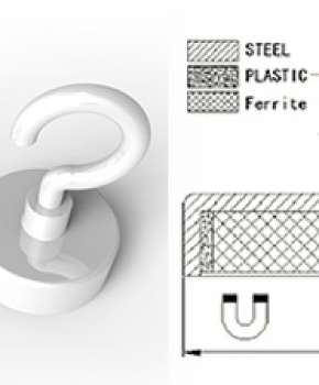 Ferrite Pot Magnets with Hook, White powder painted