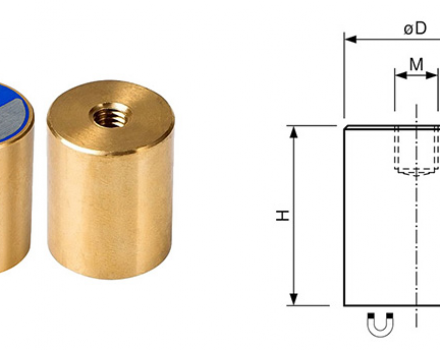 Neodymium Bi-Pole Magnets with Internal thread