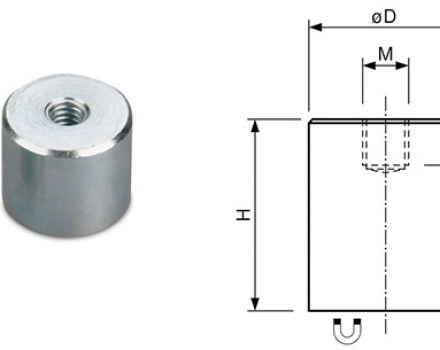 Neodymium Deep Pot Holding Magnets with Internal thread