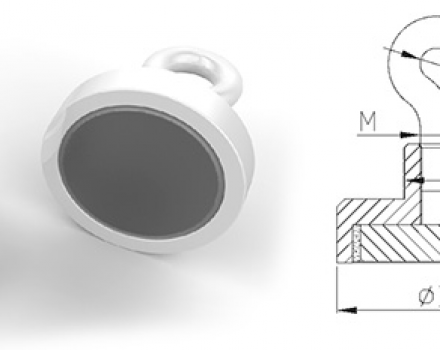 Neodymium Pot Magnets with Eyelet, White Powder Painted