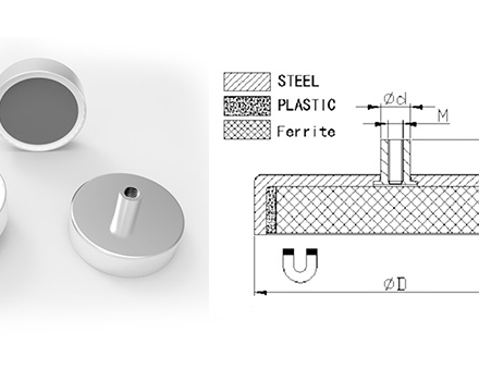 Ferrite Pot Magnet with Threaded Magnets